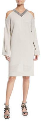 Brunello Cucinelli V-Neck Cold-Shoulder Linen Silk Paillette Tunic Dress