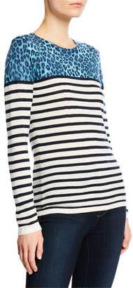 Neiman Marcus Striped Crewneck Long-Sleeve Cashmere-Blend Top w/ Leopard-Print