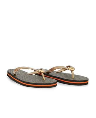 Michael Kors Eva Stripe Flip Flops Colour: BROWN, Size: UK 5