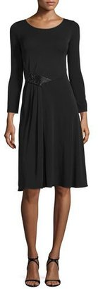 Armani Collezioni Long-Sleeve Gathered-Waist Dress, Black $1,095 thestylecure.com