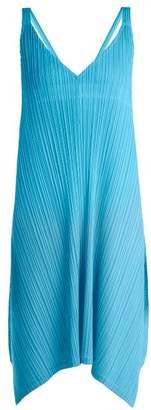 Pleats Please Issey Miyake Pleated V Neck Dress - Womens - Mid Blue