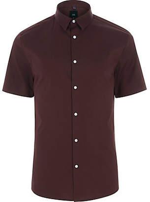 River Island Mens Burgundy short sleeve muscle fit shirt
