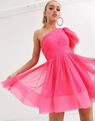 Lace & Beads puff ball sleeve mini prom dress in neon pink