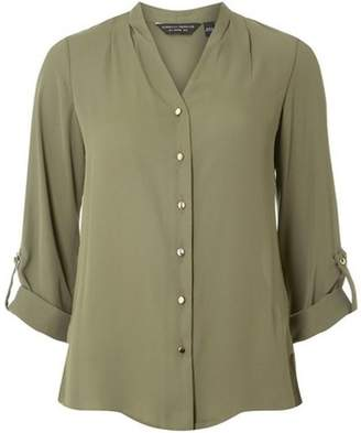 Dorothy Perkins Womens Khaki Pleated Collarless Shirt