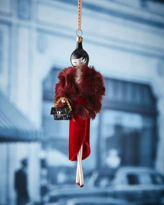 De Carlini Sarah in Burgundy Faux-Fur Jacket Christmas Ornament