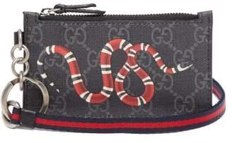 Gucci Gg Supreme Snake Print Cardholder - Mens - Black Multi