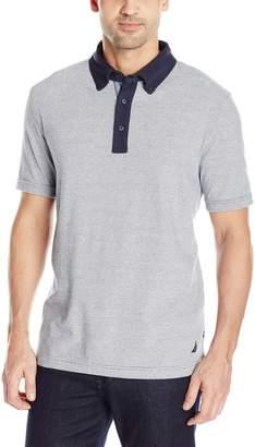 Nautica Men's Short Sleeve Melange Jersey Button Down Polo