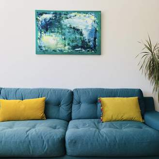 Paint-Me-Happy Art Abstract Blue Colourful Painting Original On Canvas