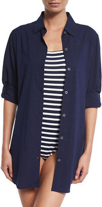 Tommy Bahama Crinkled-Cotton Boyfriend Coverup Shirt $78 thestylecure.com
