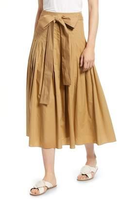 J.Crew J. Crew Pleat Cotton Poplin Midi Skirt