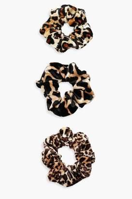 boohoo Mixed Animal Print Scrunchie 3 Pack