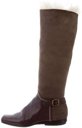 Giuseppe Zanotti Suede Shearling-Trimmed Boots