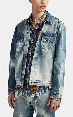 424 X Armes Men's Bleached Denim Trucker Jacket - Navy