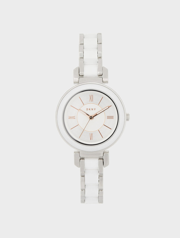 DKNY Ellington 30mm White Ceramic With Stainless Steel Watch