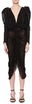 Isabel Marant Maray Plunging Ruched Fitted Dot Devore Velvet Midi Cocktail Dress