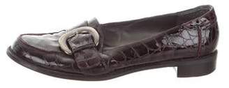 Stuart Weitzman Embossed Patent Leather Loafers