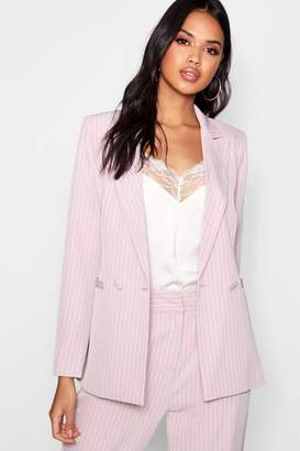 boohoo Stripe Double Breasted Tailored Suit Blazer