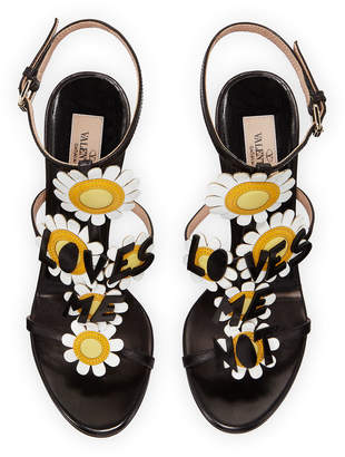 Valentino Loves Me Daisy High-Heel Leather Sandals
