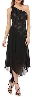 Carmen Marc Valvo Sequin & Chiffon One-Shoulder Dress