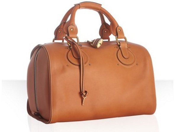 Chloe caramel leather 'Aurore' bowling bag