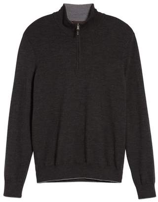 Thomas Dean Merino Wool Blend Quarter Zip Sweater