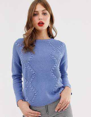 Oasis cable knit jumper in blue