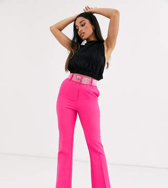 Asos DESIGN Petite pop pink slim kick flare pants with clear belt