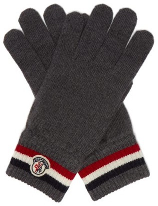 Moncler Stripe Jacquard Wool Gloves - Mens - Grey
