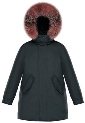 Moncler Hihiura Hooded Parka w/ Fur Trim, Size 8-14