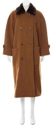 Couture Bisang Fur-Trimmed Wool Coat