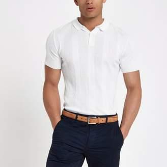 River Island White muscle fit rib polo shirt