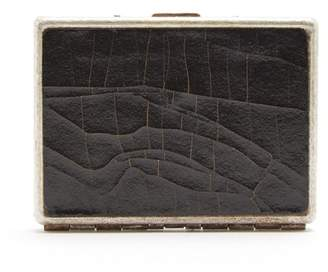 Marc Marmel Cracked Leather And Metal Card Case - Mens - Black