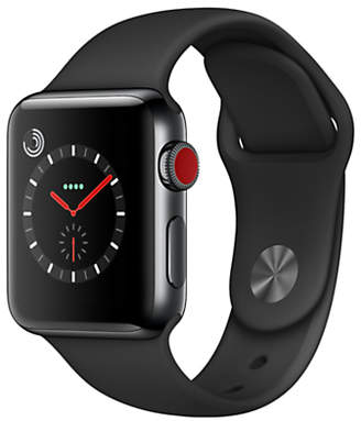 Apple Watch Series 3, GPS and Cellular, 38mm Space Black Stainless Steel Case with Sport Band, Black