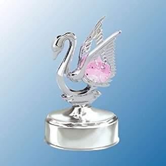 Swarovski Mascot Chrome Mini Swan Music Box - Pink Crystal