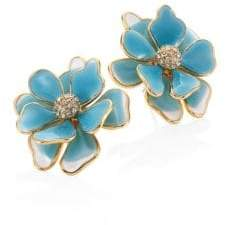 Kenneth Jay Lane Flower Crystal& Enamel Stud Earrings/Blue