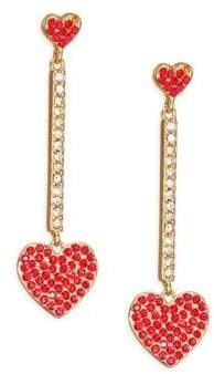 Kate Spade Checking In Pave Heart Linear Earrings