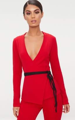 PrettyLittleThing Red Wrap Around Tie Blazer