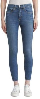 Rag & Bone Distressed High-Rise Skinny Ankle Jeans