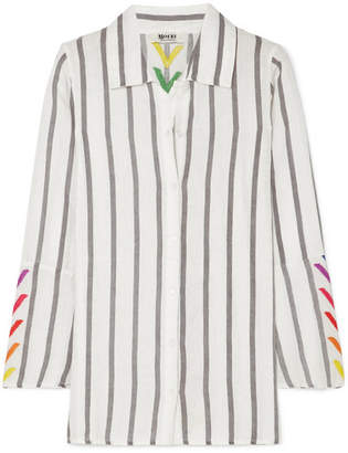 Off-White All Things Mochi Nina Embroidered Striped Linen Shirt