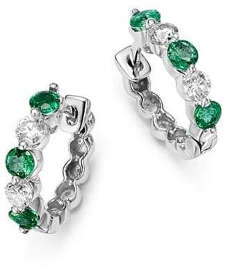 Bloomingdale's Emerald and Diamond Huggie Hoop Earrings in 14K White Gold - 100% Exclusive