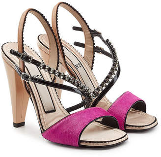 N°21 N21 Embellished Sandals with Patent Leather and Pony Hair