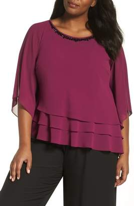 Alex Evenings Embellished Tiered Chiffon Top