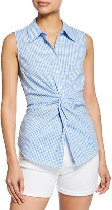 Neiman Marcus Gingham Sleeveless Knot-Front Top