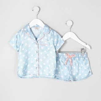 River Island Mini girls blue polka dot pyjama shirt set