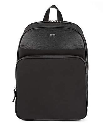 HUGO BOSS Structured-nylon backpack with calf-leather trims