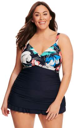 8f2801fc6f3 Croft   Barrow Plus Size Floral Twist-Front Swimdress