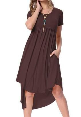 Lovaru Solid Color Short Sleeve Women Irregular Casual Dress