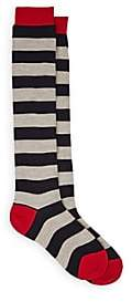Maria La Rosa Women's Striped Wool-Blend Thigh-High Socks-Gray
