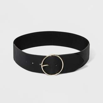 A New Day Women's Round Buckle with Stretch Belt Black