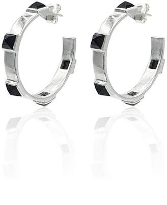 Eliza J Bautista Onyx Rock Chic Hoop Earrings In Sterling Silver